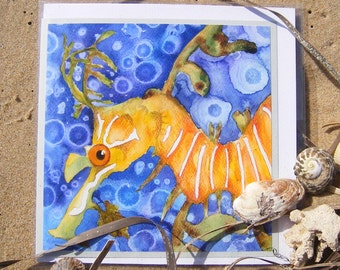 Leafy Seadragon Card. Photographic reproduction of original mixed media artwork, presented as a card, with envelope. Suitable to frame.
