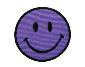 Purple Smiley Happy Smile Face Embroidered Applique Iron on Patch