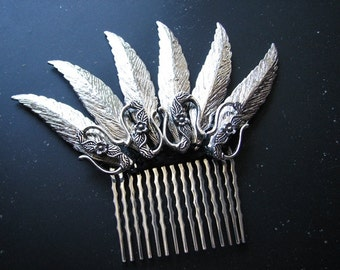 Feather headpiece | silver | flower hair comb | fairy tales | decorative hair comb