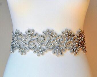 "3"" wide Stunning Crystal Bridal Sash,Wedding Dress Sash Belt, Rhinestone Sash,Rhinestone Bridal Bridesmaid Belt, Wedding dress sash"