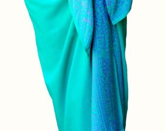 Beach Sarong Pareo Wrap Skirt Womens Swimwear Batik Sarong CoverUp Sea Blue Green Beach Clothes Long Pareo Beach Wrap Sarong Skirt or Dress