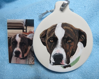 2 ornaments Pet Portrait Ceramic Hand Painted and Made to Order you provide the picture by Pigatopia