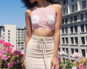 Baby Pink Mesh Halter With Flower Appliqué