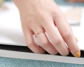 Geometric 14K Real Gold Band, Art deco Wedding Band,  simple modern Stacking ring, white gold, rose gold dainty minimalist ring gift for her