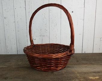 "Vintage Large Wicker Carrying Basket 15"" High x 13"" Wide Easter Basket Flower Girl Handle Basket Rustic Wedding Boho Chic Country Decor"