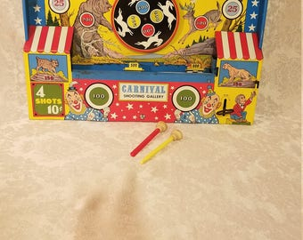 1950's Vintage Ohio Art Tin Litho Carnival Shooting Gallery Lineup