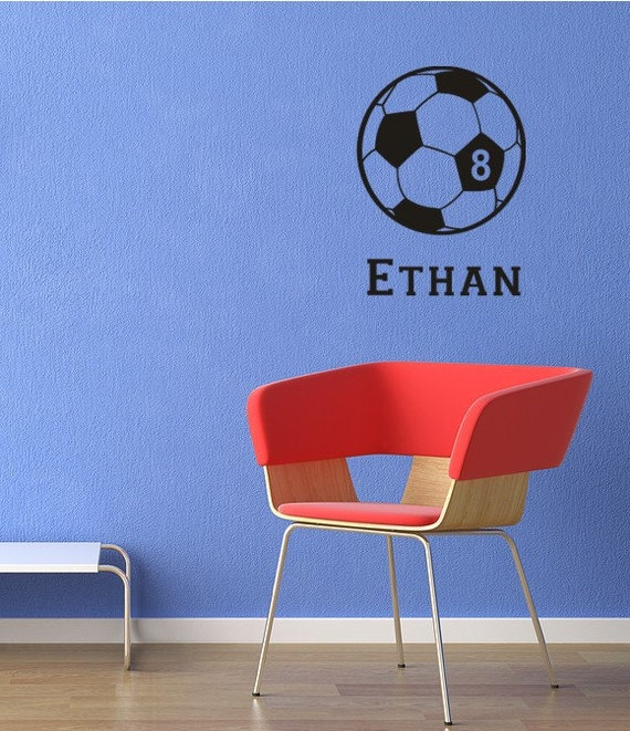 Soccer Ball Wall Decal Personalized Name and Number