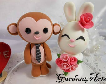 Custom Wedding Cake Topper--Love Monkey & Bunny couple with  Circle Clear Base