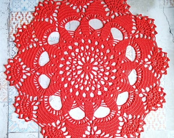 Red Crochet Doily Highly Textured Lace Doilies
