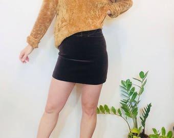 Velvet mini skirt vintage velvet skirt 90s guess velvet skirt brown velvet skirt vintage mini skirt high waisted skirt small velvet skirt 2