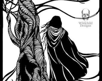 Cloaked Lady & Tree Paper Cutting Template, Personal Use, Vinyl Template, SVG, JPEG, Wuthering Heights Template, Illustration Template