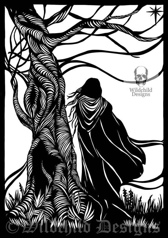 Cloaked lady tree paper cutting template personal use