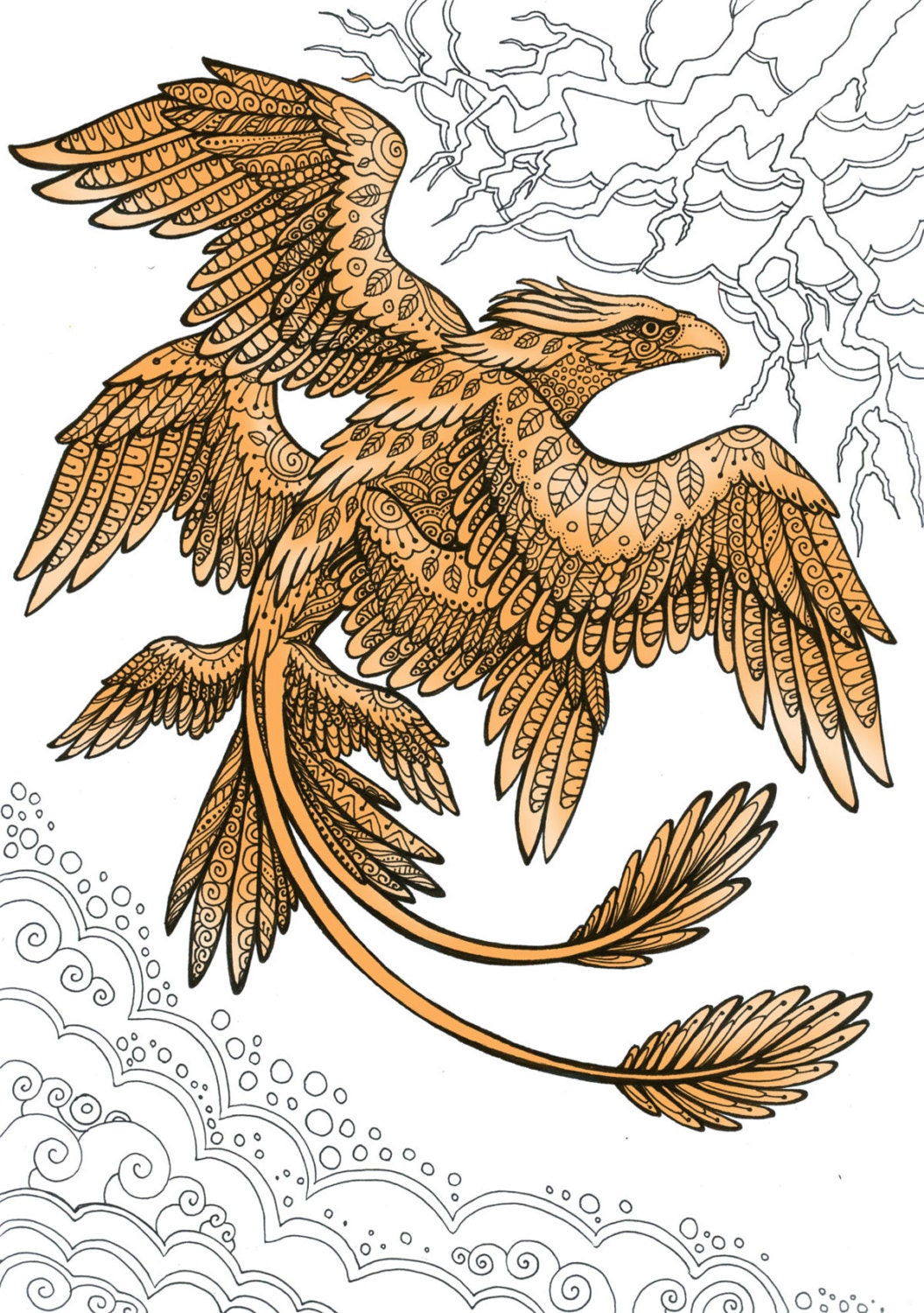Frank the Thunderbird Fantastic Beasts Adult Coloring Page Doodle ...