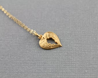 Gold Vermeil Over Sterling Silver, Dragon Wing Charm / Heart and Dragon Wing Pendant with Jump Ring, Elegant Jewelry, (VM/CH10/CR55)