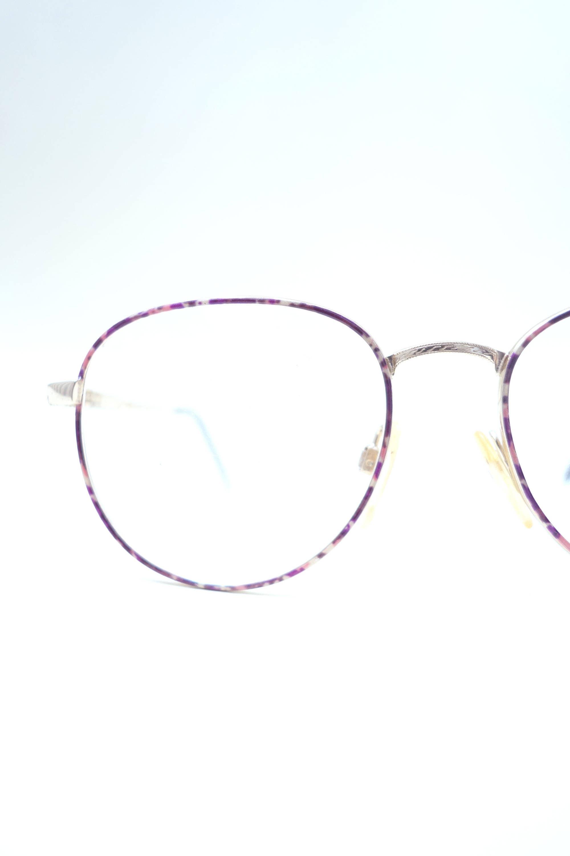 Runde lila Brille Frauen der 1980er Jahre übergroßen Geek
