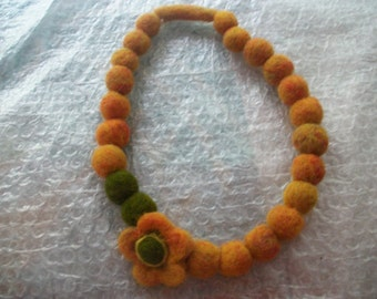 Dry felted necklace, Handmade, woman gift