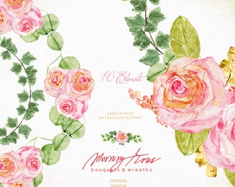 Morning Roses Watercolor Clipart - Bouquets and Wreaths - Flowers Clipart, Wedding Flowers, Wedding Invitation, DIY Invitations, Prints, Tag
