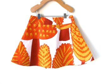 4T Skirt for Thanksgiving in Marimekko Cotton - Autumn Leaves