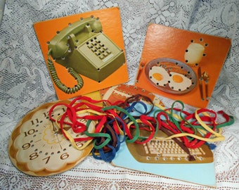 Vintage Childs Lacing Puzzle Boards with Laces Orig Box Must See