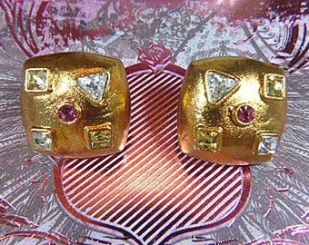 Vintage Gold Foil and Rhinestone Clip Earrings -V-EAR-596 - Square Gold Earrings