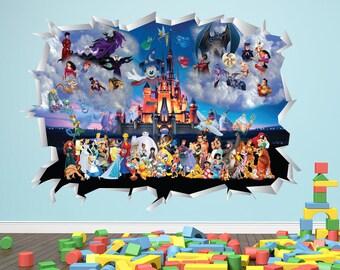 Disney Magic Kingdom Wall Decal 3D Smash Wall Art Vinyl Sticker Kids Bedroom  Decor