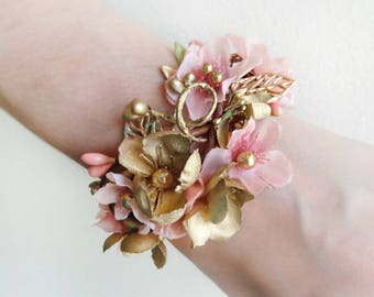 floral bracelet, pink and gold bridal cuff, bridal corsage, cuff bracelet, bridesmaid corsage wrist, floral jewelry, gold wedding, pearls
