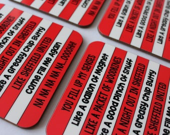 You Fill Up My Senses Coaster, red & white stripes, Sheffield United SUFC