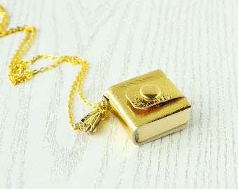 Small notebook necklace Gold leather notebook Tiny journal Mini book leather Gold small notebook Miniature book necklace Mini journal gold