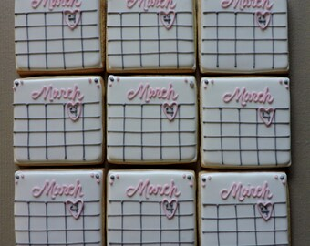 Save the Date Calendar Wedding annoucement Cookie favors (#2205)