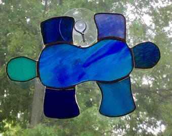 Stained Glass Puzzle Piece Suncatcher By Sparkle Stained Glass, Autism Awareness, Puzzle Piece, Blue Puzzle