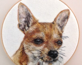Paw-sitively perfect gift for a chihuahua lover! Needle felted, wool dog portrait.