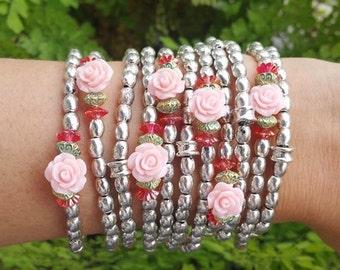 Silver metal beads - silver jewelry - silver bracelets - rose jewelry - stretch bracelets - pink jewelry - beaded bracelets - autumn garden