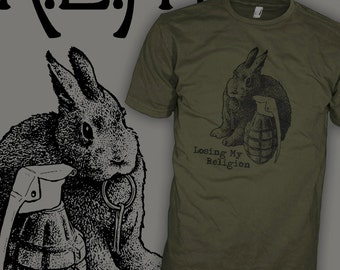 REM Band Shirt - Bunny Bomb - Rabbit Grenade - Indie Rock T-Shirt