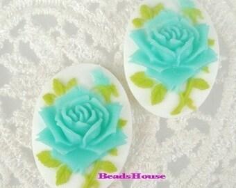 Wholesale 90S-BLU-CM  12 Pcs  Super Beautiful  Roses Cameo - Blue on White