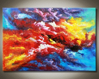 "36"" < Daydream > Original Contemporary Abstract Art Oil Painting Canvas Colorful Clouds Sunset Sunrise Sky Fantasy Large Hand Painted Signed"