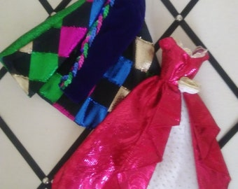 Glamorous Barbie Doll Dresses: Jeweled Green, Magenta, and Royal Blue dress.  Ruby Red, White and Gold Gown!