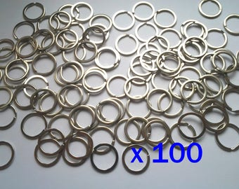 Lot 100 rings support 25 mm metal keychain