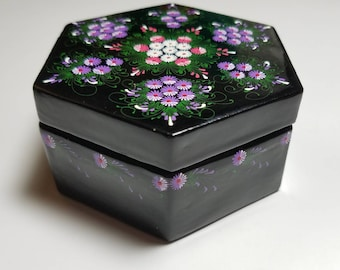 Floral Hand Painted Floral  Black Enamel Jewelry Trinket Box - Oriental Hand Painted Enamel Jewelry Box - Asian Trinket Box