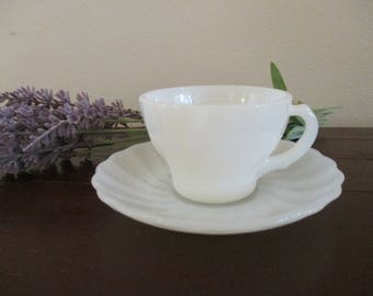 Demitasse - Fire King Milk White Shell Demitasse Cup and Saucer