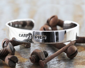 Sterling Silver Cuff Bracelet Mens Personalized Stamped Bangle