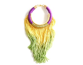 Mardi Gras tassel bracelet for her Fat Tuesday carnival style, purple green gold festival Accessories, New Orleans boho chic style / Bourbon