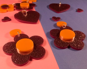 60s Style Pink and Orange Flower Power earrings - lasercut acrylic