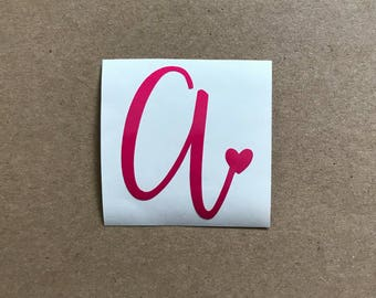 Single Initial Decal   Monogram Sticker   Initial with Heart Decal   Car Decal   Laptop Decal   Personalized Decal   Tumbler Decal