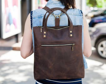 Leather backpack brown leather rucksack laptop leather tote bag leather shoulder bag backpack purse leather handbag leather tote with zipper