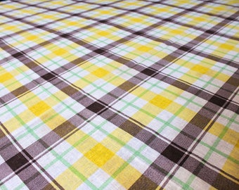 1960s Plaid Fabric - 4 Yards x 44 Inches Wide - 60s Cotton Blend Broadcloth - Yellow Brown Lime Green White Yardage - Wamsutta - 47760