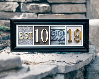 Paper Anniversary | Custom Wedding Date | Personalized Wedding Gift | Color Number Photos | Established Date Frame | First Anniversary Gift