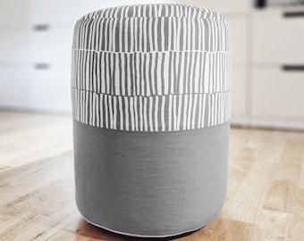 IKEA striped fabric pouf Beanbag ottoman Minimalist zebra pouf Scandinavian round pouf stool Floor pillow Floor cushion footstool/footrest