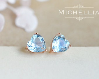 Heart of Sea Earrings in Aquamarine, Aquamarine Heart Ear Studs, Available in 14K or 18K Solid Gold and Platinum, E4006