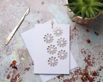 Light bulb flower pattern card, Paper cut card, Greetings card, Flower card, Light bulb card, Pattern card FREE P&P