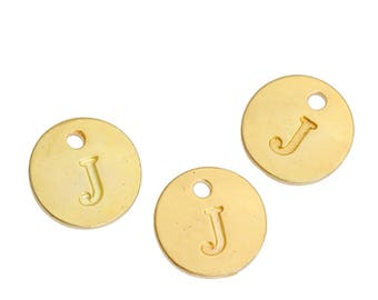 Letter J - 12mm Golden gold pendant